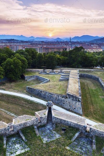 Panorama of Pamplona at sunset