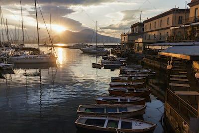 Panorama of Naples and Vesuvius at sunrise