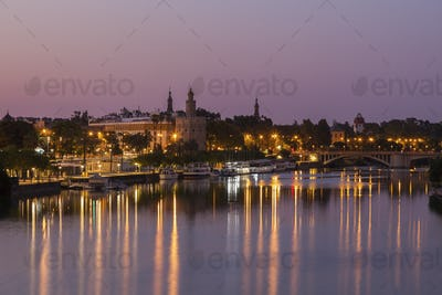 Architecture of Seville along Guadalquivir River