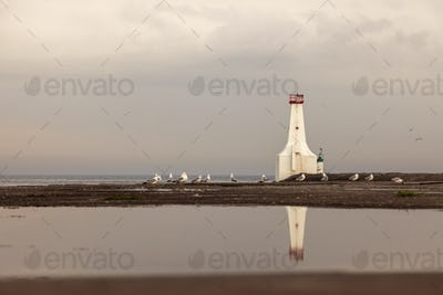 Cobourg East Pierhead Lighthouse by Lake Ontario