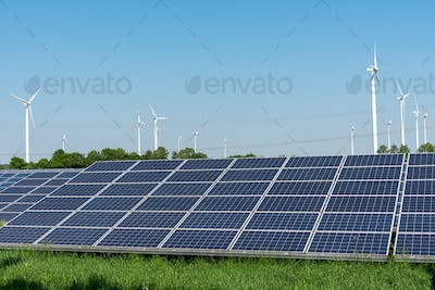 Solar panels and wind power plants