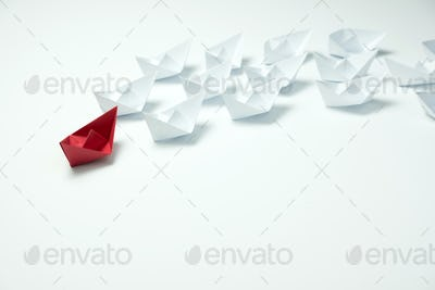 Leadership concept using origami ship