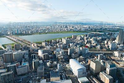 Osak city view from Umeda sky building