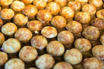 Famous Japanese snack food takoyaki or octopus ball