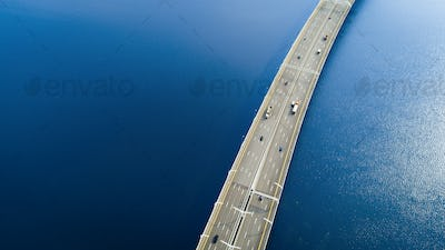 Aerial view of a high way road on the bridge