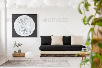 Pillows on black sofa in white living room interior with moon po