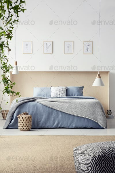 Real photo of king-size bed with pastel blue bedclothes and box