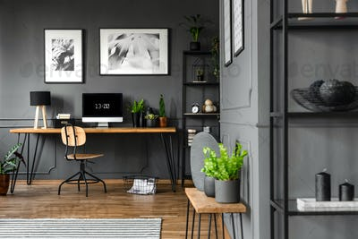 Grey home office interior