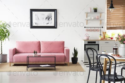 Poster above pink couch in white apartment interior with black c