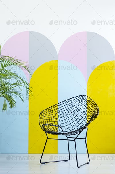 Modern armchair set on a colorful wall next to a plant. Real pho