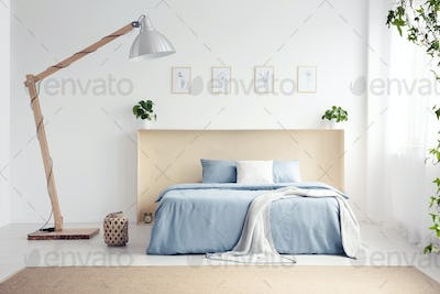 Designer lamp next to blue bed with blanket in white bedroom int