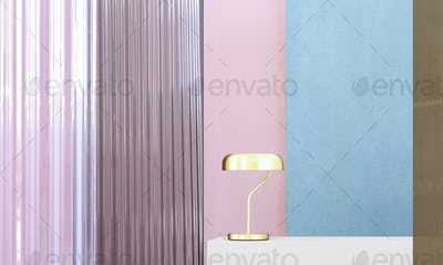 Real photo of a gold lamp on a white pedestal in colorful interi