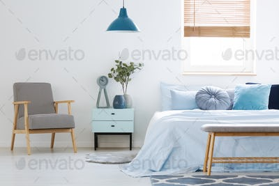 Plant on cabinet between patterned armchair and blue bed in bedr