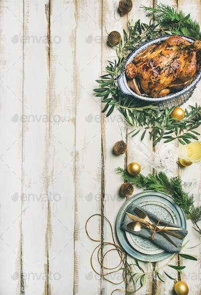Christmas or New Year celebration table setting, vertical composition