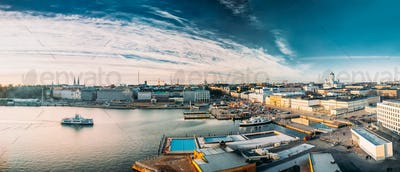 Helsinki, Finland. Panoramic Aerial View Of Market Square, Stree