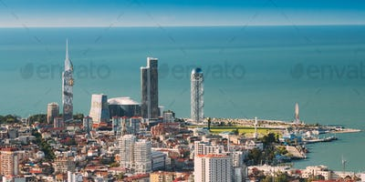 Batumi, Adjara, Georgia. Top View Of Urban Cityscape At Sunny Su