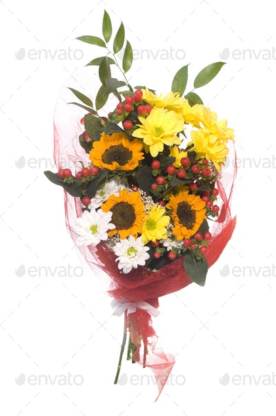 Bunch of flowers, isolated on white.