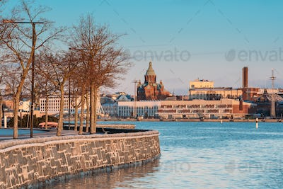 Helsinki, Finland. View Of City And Uspenski Cathedral In Sunny