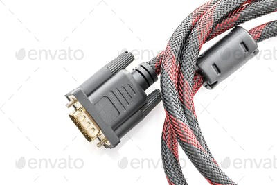 HDMI and VGA cable connector on white-3