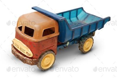 Old plastic toy, generic auto truck