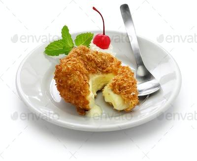 homemade fried ice cream isolated on white background