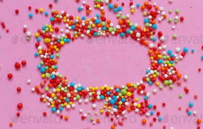 Colorful sugar sprinkles top view