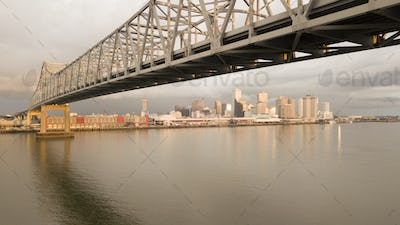 New Orleans Aerial View Under the Highway Bridge Deck Over the Mississippi