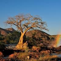 Sunset at the Epupa waterfall, Namibia
