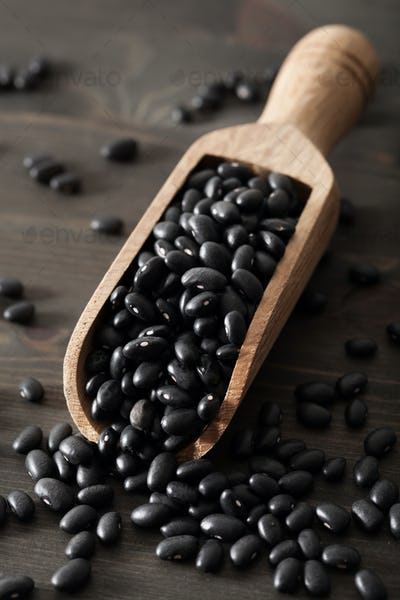 black turtle beans legumes in scoop