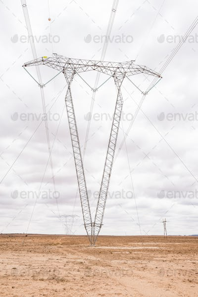 High voltage power lines between Jacobsdal and Koffiefontein
