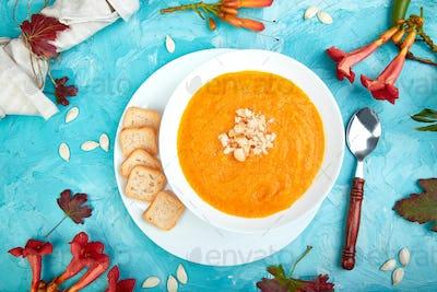Cream of pumpkin soup. Thanksgiving Day. vegetarian