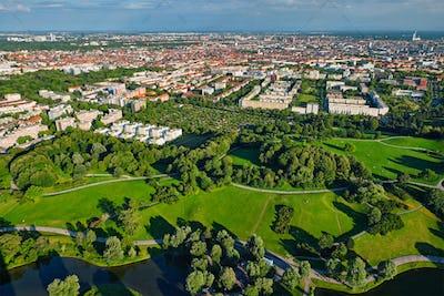 Aerial view of Olympiapark . Munich, Bavaria, Germany
