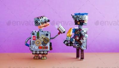 Robots communication, artificial intelligence concept.