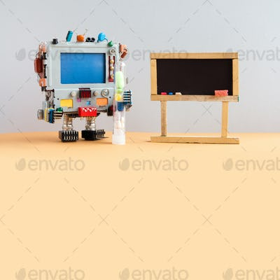 Robot medic with antiviral drugs tube, copy space blue screen. Empty black chalkboard for your text.