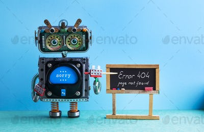404 error page not found. Robot teacher with pointer, black chalkboard handwritten error message.