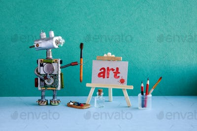 Robot artist, wooden easel and the handwritten picture.