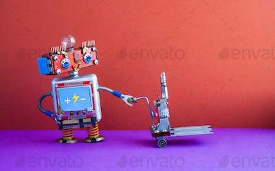 Robot loader with powered pallet jack.
