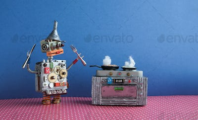 Robot chef cooking frying pan, electronic stove oven.