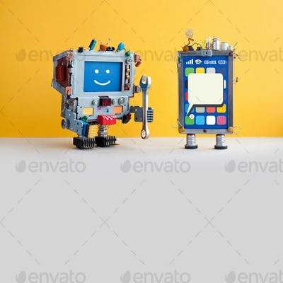 Mobile cellular repair service. Smartphone screen, robotic computer serviceman
