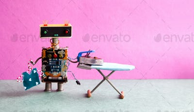 Domestic robot, hanger blouse, iron on the board.