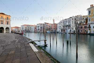 Grand Canal in Venice and docks, nobody in the early morning
