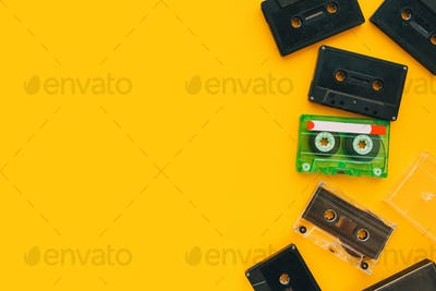 Top view of audio cassettes