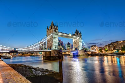 The Tower Bridge in London at night