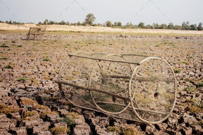 Old fish trap on ground
