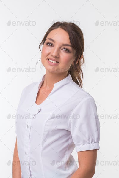 Medical physician doctor woman over white background