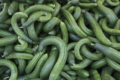Fresh curly shaped cucumbers