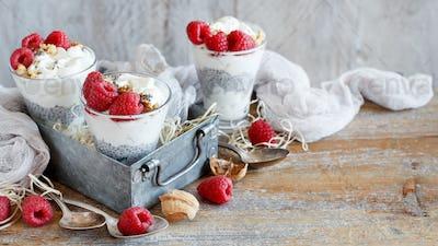 Raspberries and yogurt chia pudding parfait