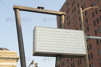 A Blank Marquee Business Sign Downtown City Corner