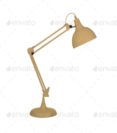 Yellow desk lamp isolated on white