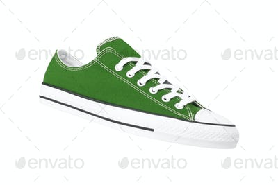 new green sneakers isolated on white background